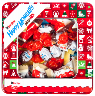 Kinder Happy moments Mini mix 197g + Plechová dóza ČERVENÁ