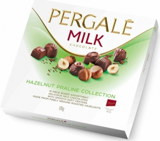 Bonboniéra Pergalē MILK chocolate HAZELNUT PRALINE COLLECTION 120g
